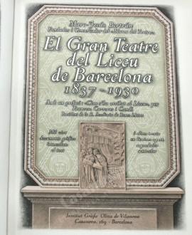 EL GRAN TEATRE DEL LICEU  DE BARCELONA 1873-1930